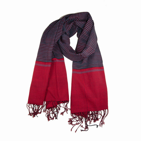 sami - red blue cotton gingham scarf