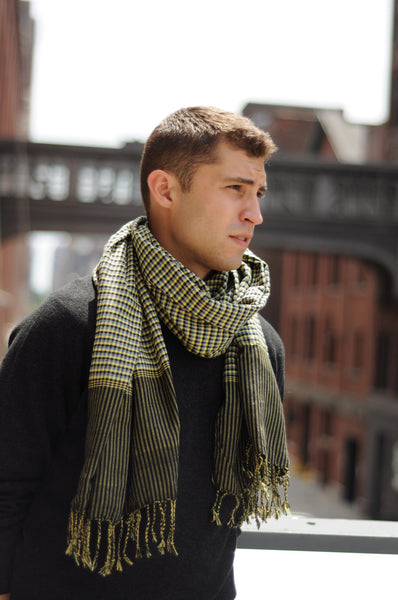 sami - yellow black cotton gingham scarf