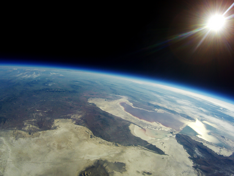 a photo taken from a real high altitude balloon space flight