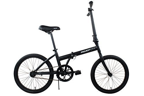 "Projekt - 20"" inch Folding City Bike Single Speed Uno Compact College Bicycle, Black"
