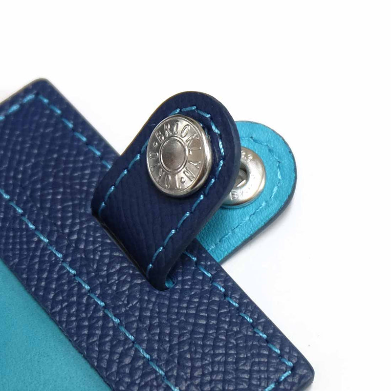 [French calf] <br>ID strap double-sided vertical<br>color: Ink Blue