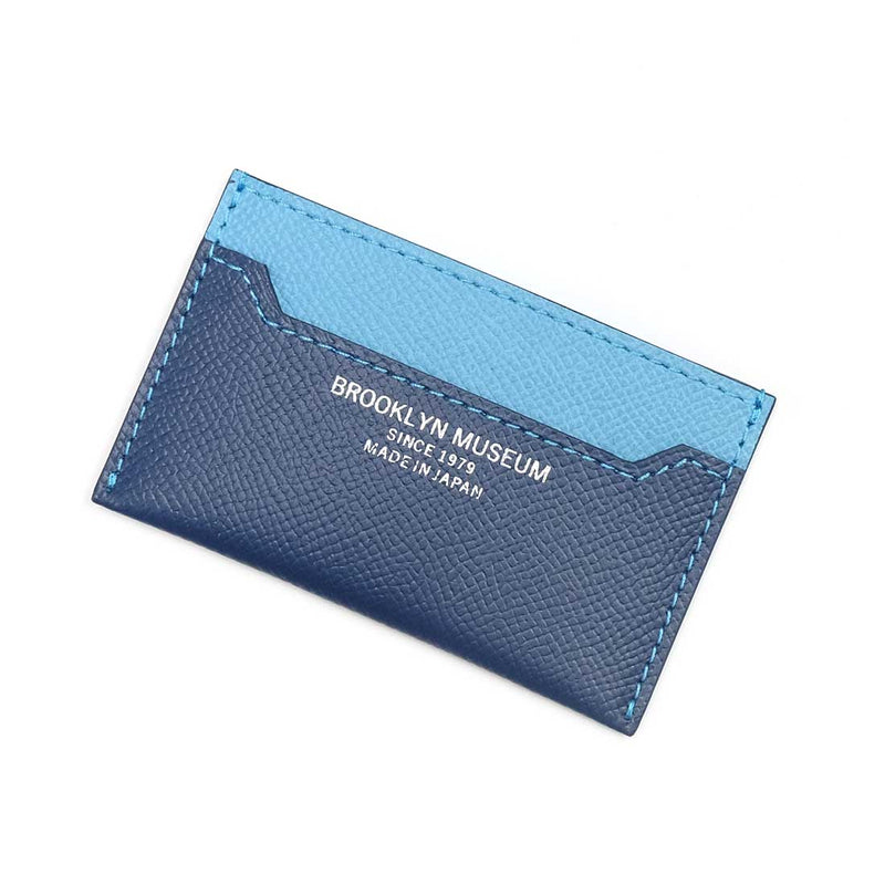 [French calf] <br>Compact card case<br>color: Ink Blue x Aqua Blue