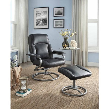 Plush Pillowed Recliner Swivel Chair and Ottoman Set - EK CHIC HOME