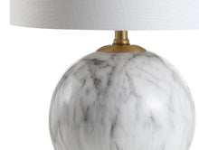 "Load image into Gallery viewer, Luna 21.5"" Faux Marble Resin LED Table Lamp, White/Brass Gold - EK CHIC HOME"
