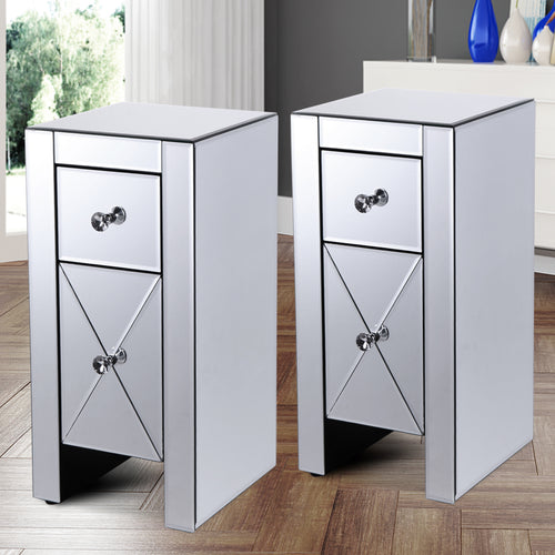 Set of 2 Mirrored Nightstand 2 Drawer Crystal Accent Silver Side Table