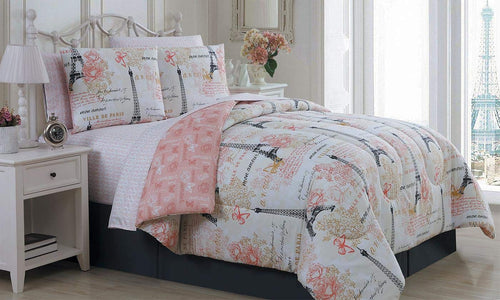 Paris Eiffel Tower Pink & Grey Flowers Queen Comforter Set- 8 Piece - EK CHIC HOME