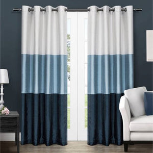 2 Pack Chateau Striped Faux Silk Grommet Top Curtain Panels - EK CHIC HOME