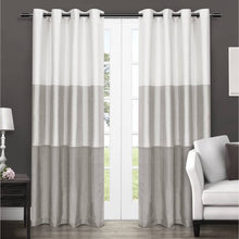 Load image into Gallery viewer, 2 Pack Chateau Striped Faux Silk Grommet Top Curtain Panels - EK CHIC HOME