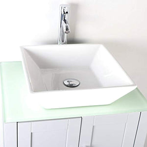 "48"" Bathroom Vanity Glass Top Single Sink Grey Paint w/Mirror Faucet and Drain set - EK CHIC HOME"