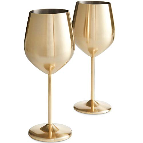 Brushed Gold Stainless Steel Wine Glasses Set of 2 - EK CHIC HOME