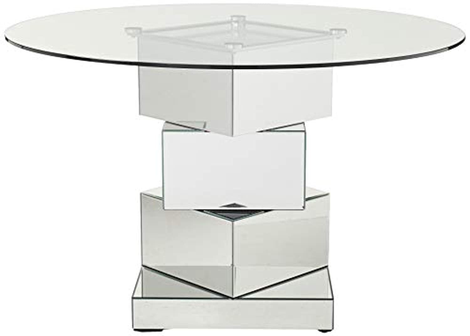 Picture of: Contemporary Mirrored Dining Table Round Tempred Glass Top 50 W X 5 Ek Chic Home