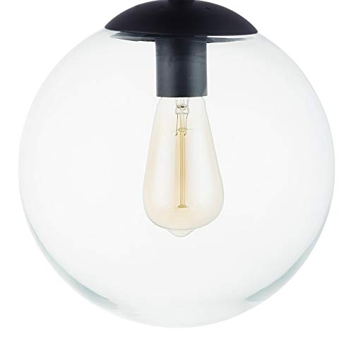 Globe Semi Flush Mount Ceiling Light, Frost White Glass with Black Finish, Contemporary Mid Century Modern Style - EK CHIC HOME