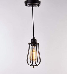 1-Light Black Finish Metal Shade Hanging Pendant Ceiling Lamp Fixture - EK CHIC HOME