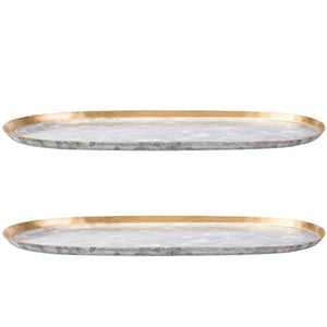 Vintage Elongated 10-Inch Oval Galvanized Serving Tray - EK CHIC HOME