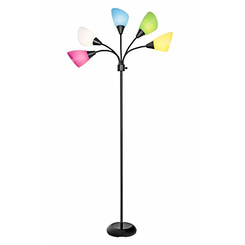 Black 3-way Multi-head Floor Lamp with Acrylic Shade - EK CHIC HOME