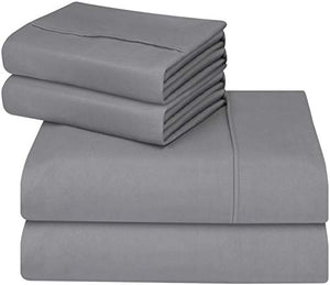 Soft Brushed Microfiber Wrinkle Fade and Stain Resistant 4-Piece Set Grey - EK CHIC HOME