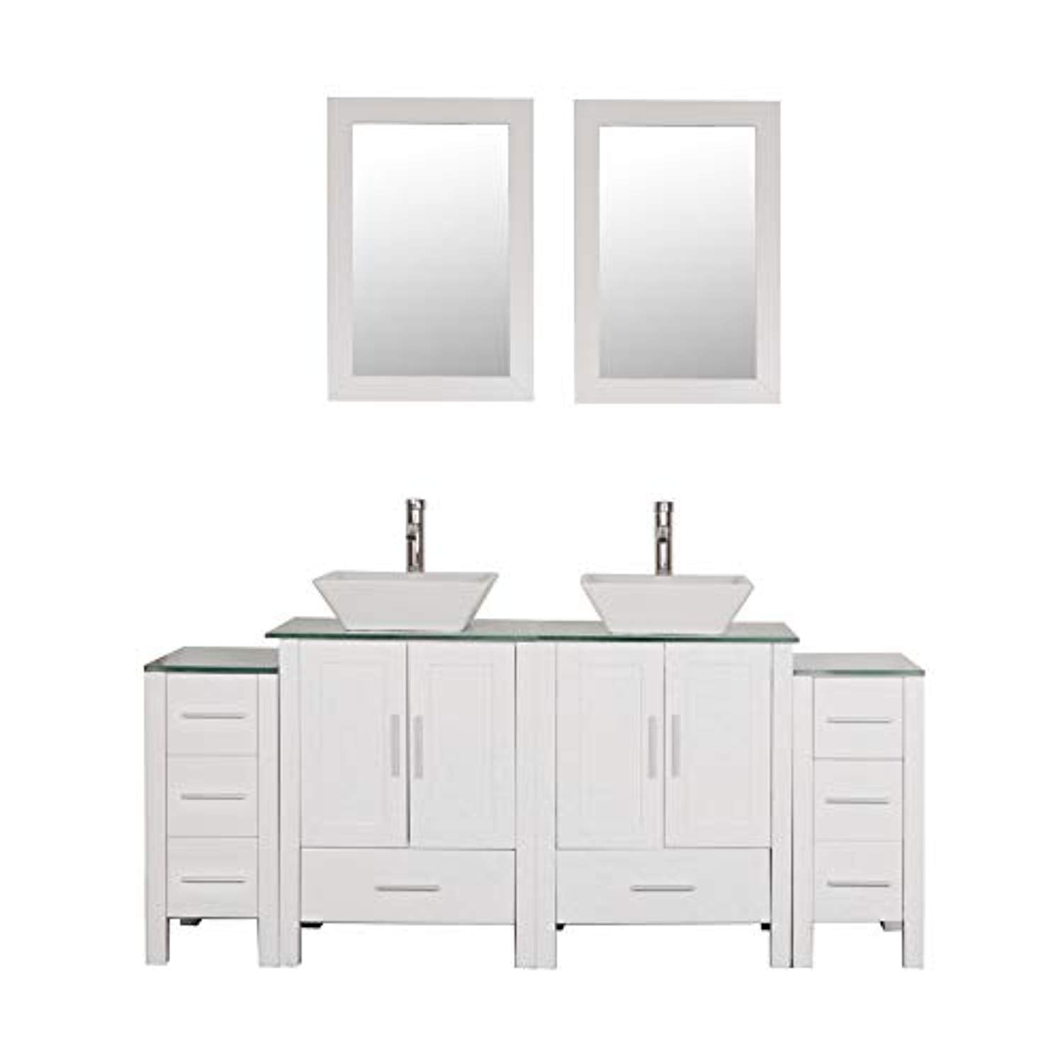 Fabulous Homecart 72 Double Sink Bathroom Vanity Cabinet Combo Glass Top White Wood W 2 Basin Faucets Mirrors And Drains Home Interior And Landscaping Synyenasavecom