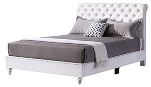 Tufted Upholstered Bed, Queen, White - EK CHIC HOME