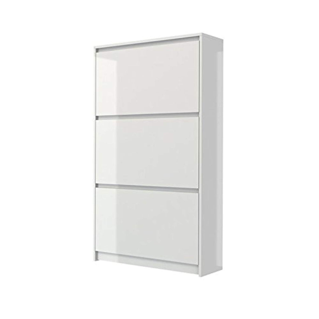 CHIC Designs 3 Drawer Shoe Cabinet in White High Gloss - EK CHIC HOME