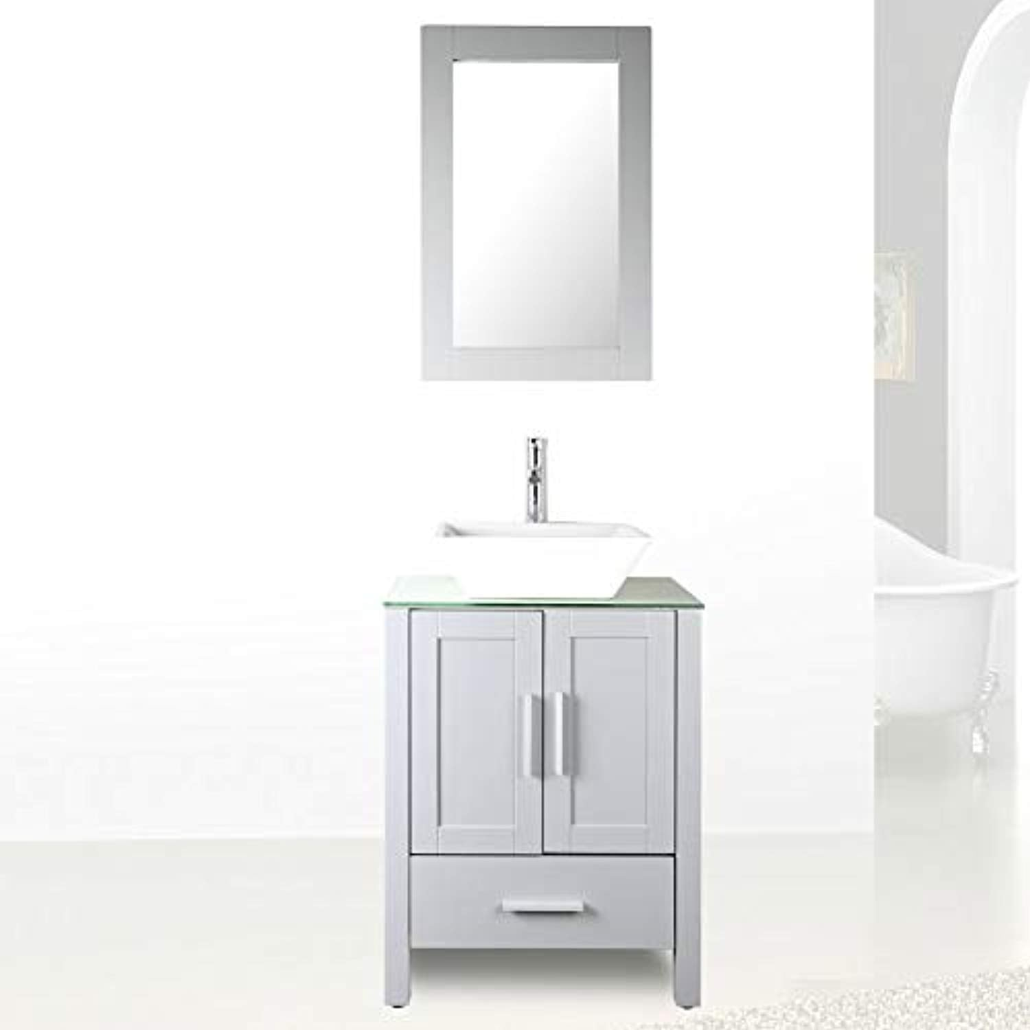 24 Grey Bathroom Vanity Cabinet And Sink Combo Glass Top Mdf Wood W Sink Faucet Drain Set
