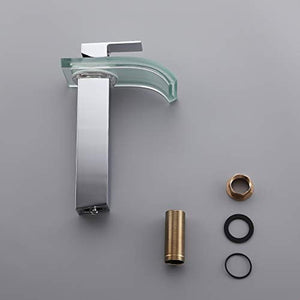 Solid Brass LED Waterfall Glass Spout Single Hole Bathroom Vessel Sink Faucet - EK CHIC HOME