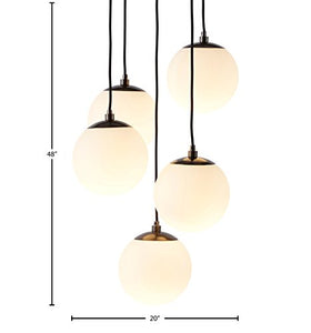 "Rivet Eclipse 5-Globe Hanging Chandelier, 48""H - EK CHIC HOME"