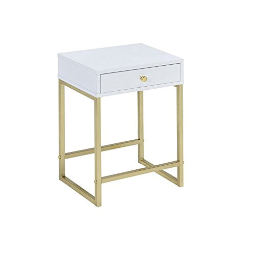 Coleen Side Table, White & Brass