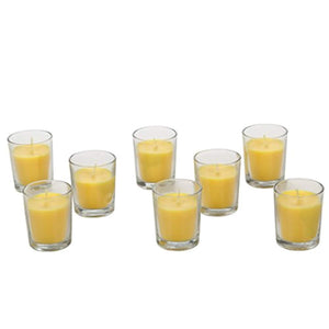 Set of 8 Highly Scented Citronella, Rosemary, Sage, Lemon Grass Blend, Essential Oils, Clear Glass Wax Filled Votive Candles - EK CHIC HOME