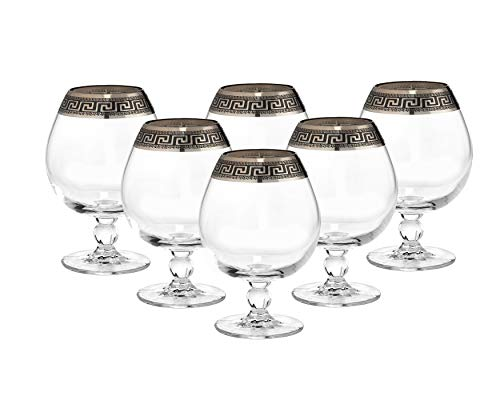 Crystal Cognac Brandy Snifter Goblet, 17 oz. Platinum Greek Key Ornament - EK CHIC HOME