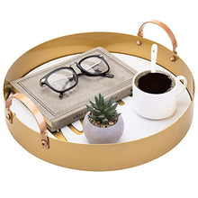 Load image into Gallery viewer, 13 Inch Home White & Vintage Brass Tone Metal Tray with Handles - EK CHIC HOME