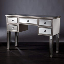 Load image into Gallery viewer, Mirage Mirrored Media Console Table, Matte Silver Finish with Crystal Knobs - EK CHIC HOME