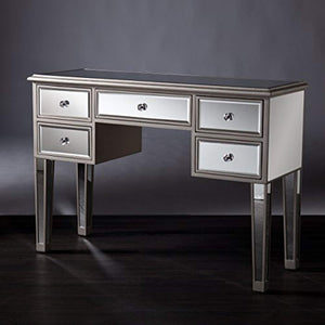 Mirage Mirrored Media Console Table, Matte Silver Finish with Crystal Knobs - EK CHIC HOME