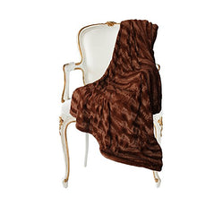 Load image into Gallery viewer, Embossed Faux Fur Throw Blanket & Bedspread - Luxurious Over-Sized Faux Fur Blanket Caramel - EK CHIC HOME
