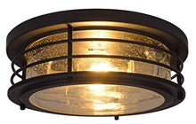 Load image into Gallery viewer, Antique Drum Light, LED, Flush Mount, Dimmable, Black - EK CHIC HOME