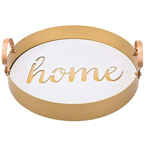 13 Inch Home White & Vintage Brass Tone Metal Tray with Handles - EK CHIC HOME