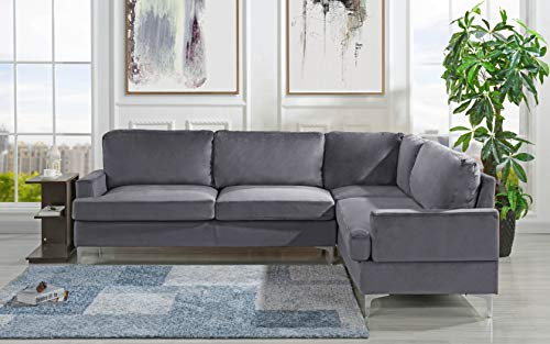 Velvet Sectional Sofa, L-Shape Couch (Grey)