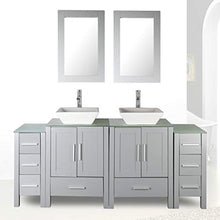 "Load image into Gallery viewer, 72"" Double Sink Grey Bathroom Vanity Modern Design Glass Top w/Mirror Faucet&Drain - EK CHIC HOME"