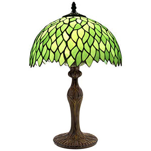 Tiffany Table Lamp Light Green Wisteria Stained Glass Lampshade 18 Inch Tall - EK CHIC HOME