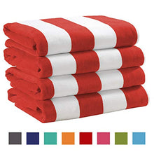 Load image into Gallery viewer, 4 Pack Plush Velour 100% Cotton Beach Towels. Cabana Stripe - EK CHIC HOME