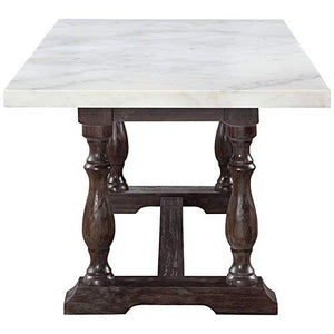 Gerardo Marble Top Dining Table, White/Weathered Espresso - EK CHIC HOME