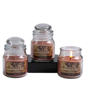 Set of 3 Rustic Sandalwood Highly Scented, 2.65 Oz Wax, Jar Candle - EK CHIC HOME