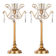 Load image into Gallery viewer, Tiffany 2-Piece Vintage Gold Metal Candelabra Set, Votive Candle Taper - EK CHIC HOME