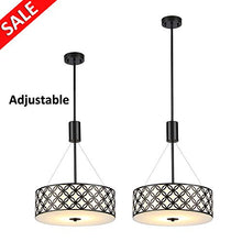 Load image into Gallery viewer, Black Painted Finish,2-Light Drum Shade with Glass Difusser - EK CHIC HOME