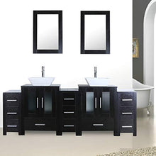 "Load image into Gallery viewer, 84"" Double Sink Bathroom Vanity Unit and Sink Combo Black Wood Texture w/ 3 Drawer Cabinets Mirror Faucet and Drain - EK CHIC HOME"