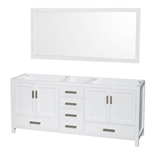 72 inch Double Bathroom Vanity in White, White Carrara Marble Countertop, Undermount Square Sinks, and 70 inch Mirror - EK CHIC HOME