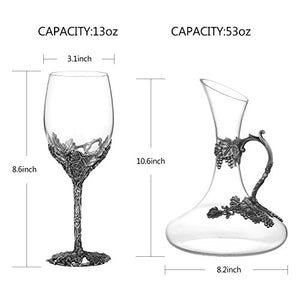 Wine Glasses Set of 5, Crystal Wine Glasses Set 4-Decanter with Enamels - EK CHIC HOME
