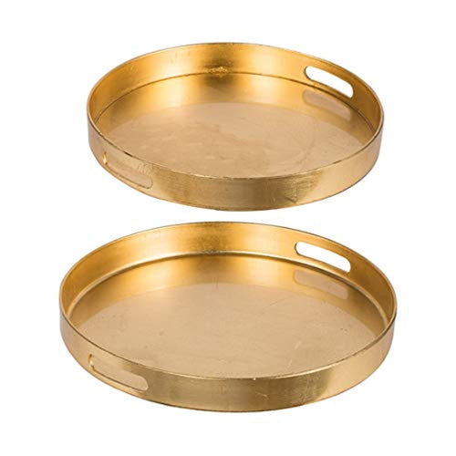 Gold Round Tray, Set of 2, - EK CHIC HOME