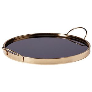 Black/Gold Rivet Contemporary Metal Tray - EK CHIC HOME