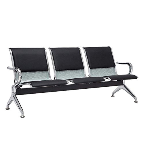 Airport Reception Chairs Waiting Room Chair with Black Leather Cushion - EK CHIC HOME