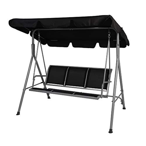 3 Person Patio Swing with Convertible Canopy-Weather Resistant Frame and Breathable Seat